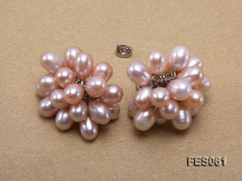 6x7mm Lavender Rice-shaped Cultured Freshwater Pearl Earrings big Image 4