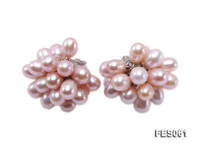 6x7mm Lavender Rice-shaped Cultured Freshwater Pearl Earrings FES061 Image 1