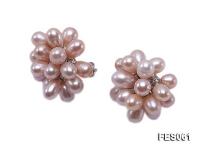 6x7mm Lavender Rice-shaped Cultured Freshwater Pearl Earrings FES061 Image 2