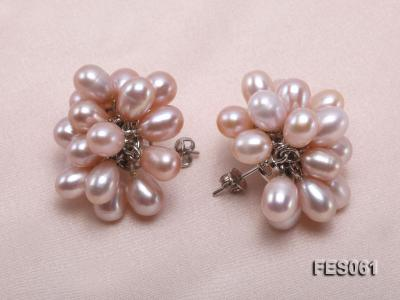 6x7mm Lavender Rice-shaped Cultured Freshwater Pearl Earrings FES061 Image 3