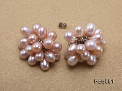 6x7mm Lavender Rice-shaped Cultured Freshwater Pearl Earrings FES061 Image 4