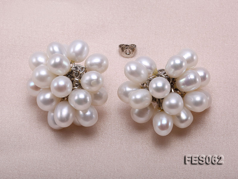 6x7mm White Rice-shaped Cultured Freshwater Pearl Earrings big Image 4
