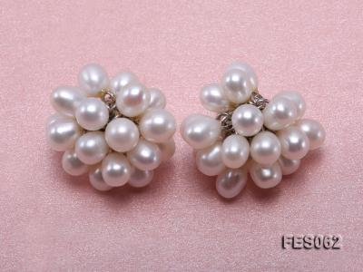 6x7mm White Rice-shaped Cultured Freshwater Pearl Earrings FES062 Image 1