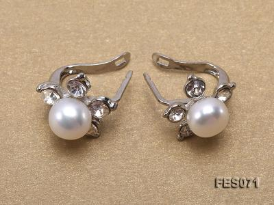 7.5mm White Flat Cultured Freshwater Pearl Earrings FES071 Image 2