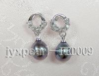 7x8mm black oval freshwater pearl post earring FED009