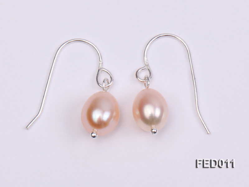 7-8mm Pink Oval Cultured Freshwater Pearl Earrings big Image 3