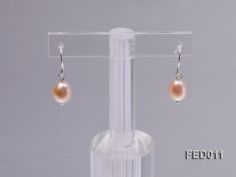 7-8mm Pink Oval Cultured Freshwater Pearl Earrings big Image 4
