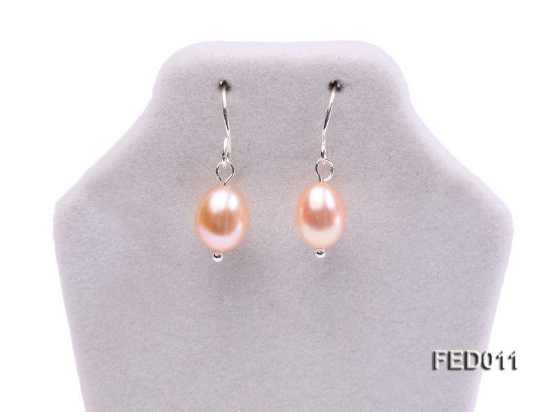 7-8mm Pink Oval Cultured Freshwater Pearl Earrings big Image 2