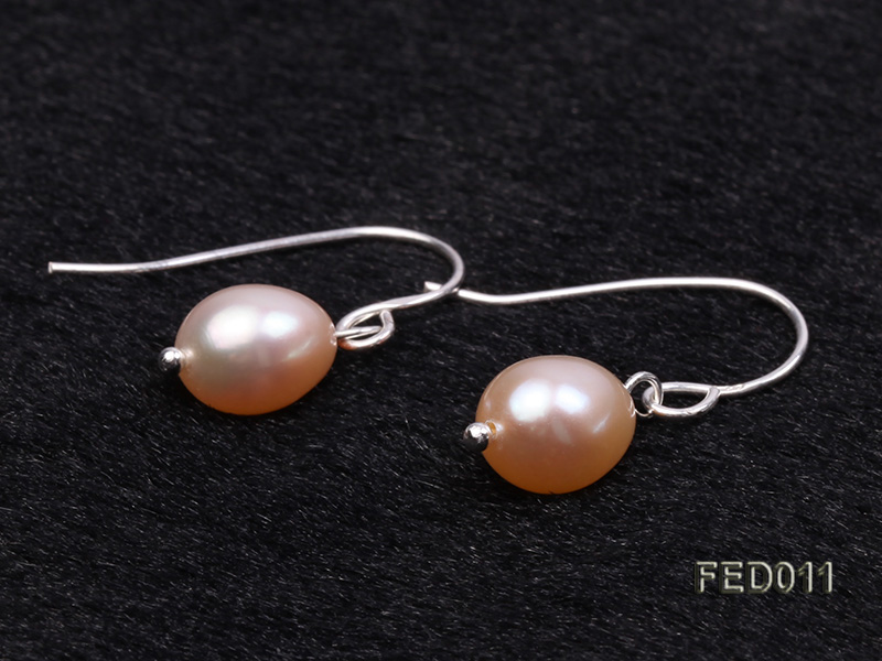 7-8mm Pink Oval Cultured Freshwater Pearl Earrings big Image 5