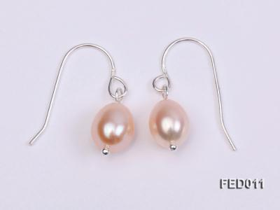 7-8mm Pink Oval Cultured Freshwater Pearl Earrings FED011 Image 3