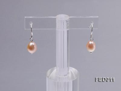 7-8mm Pink Oval Cultured Freshwater Pearl Earrings FED011 Image 4