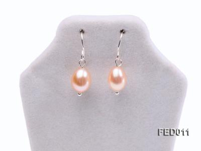 7-8mm Pink Oval Cultured Freshwater Pearl Earrings FED011 Image 2