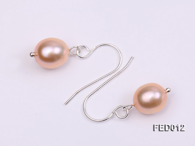 7.5-8mm Pink Oval Cultured Freshwater Pearl Earrings big Image 4