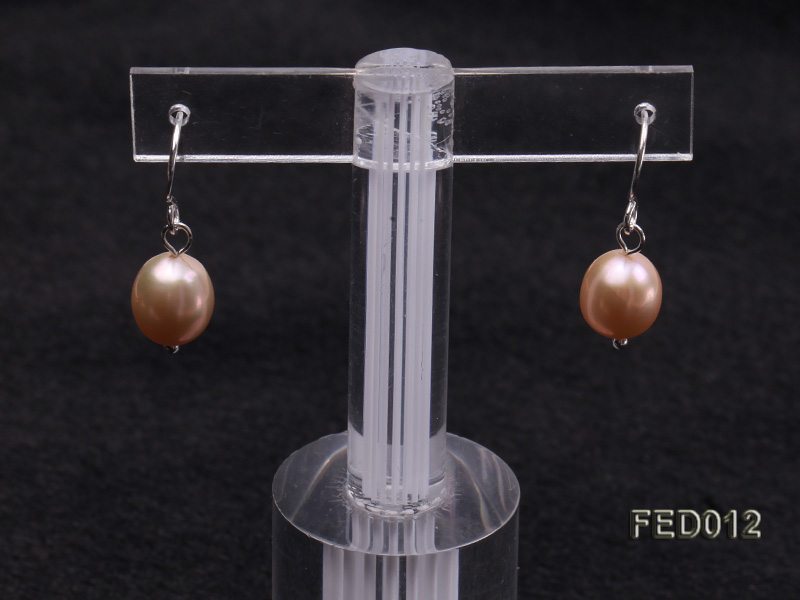 7.5-8mm Pink Oval Cultured Freshwater Pearl Earrings big Image 6