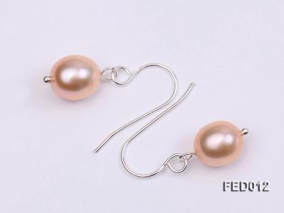 7.5-8mm Pink Oval Cultured Freshwater Pearl Earrings FED012 Image 4
