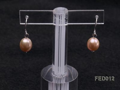 7.5-8mm Pink Oval Cultured Freshwater Pearl Earrings FED012 Image 6