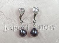 7x8mm black oval freshwater pearl post earring FED017