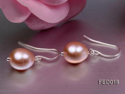 9-10mm Lavender Drop-shaped Cultured Freshwater Pearl Earrings FED018 Image 2