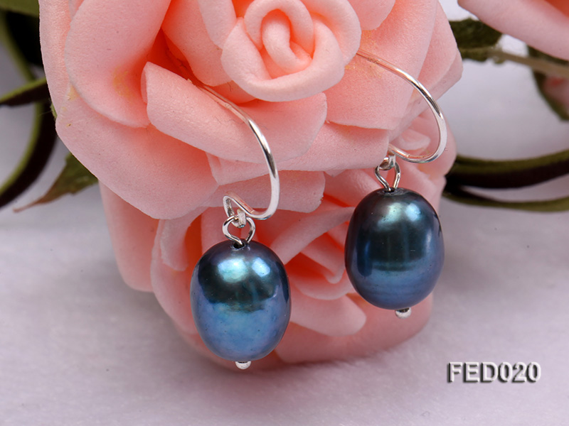 8-9mm Peacock Blue Drop-shaped Cultured Freshwater Pearl Earrings big Image 2