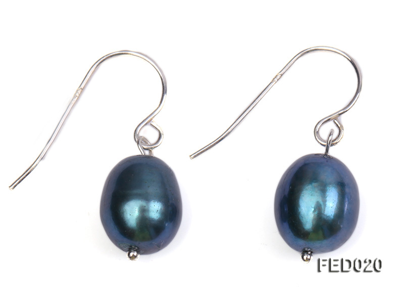 8-9mm Peacock Blue Drop-shaped Cultured Freshwater Pearl Earrings big Image 1