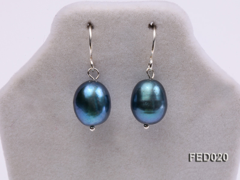 8-9mm Peacock Blue Drop-shaped Cultured Freshwater Pearl Earrings big Image 3