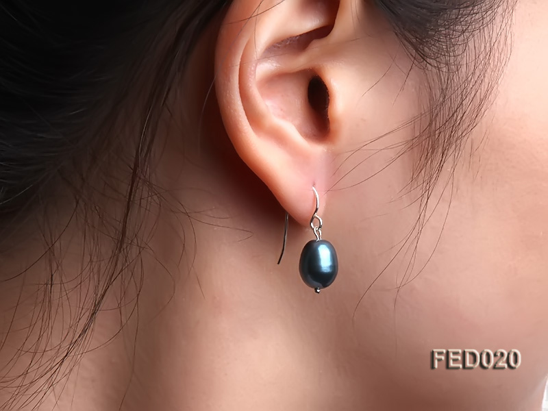8-9mm Peacock Blue Drop-shaped Cultured Freshwater Pearl Earrings big Image 5