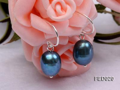 8-9mm Peacock Blue Drop-shaped Cultured Freshwater Pearl Earrings FED020 Image 2