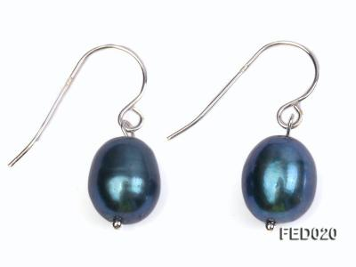 8-9mm Peacock Blue Drop-shaped Cultured Freshwater Pearl Earrings FED020 Image 1