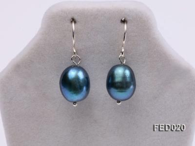 8-9mm Peacock Blue Drop-shaped Cultured Freshwater Pearl Earrings FED020 Image 3