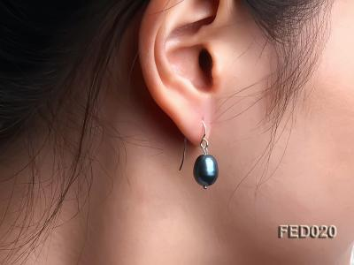 8-9mm Peacock Blue Drop-shaped Cultured Freshwater Pearl Earrings FED020 Image 5