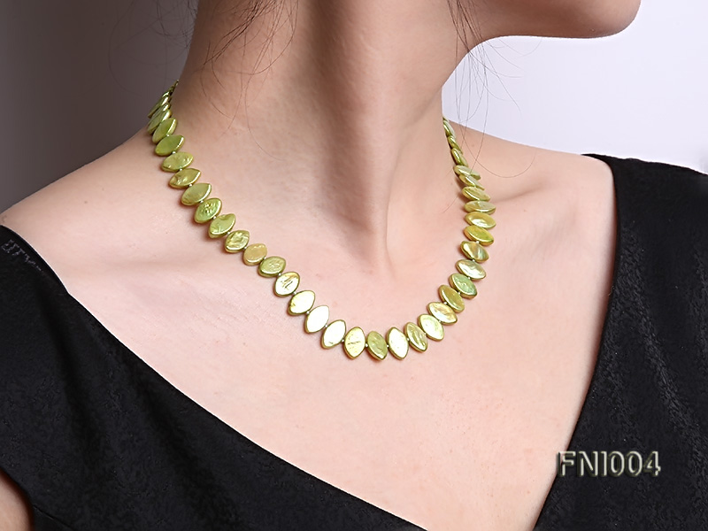 Classic 8x13mm Green Seed-shaped Freshwater Pearl Necklace big Image 8