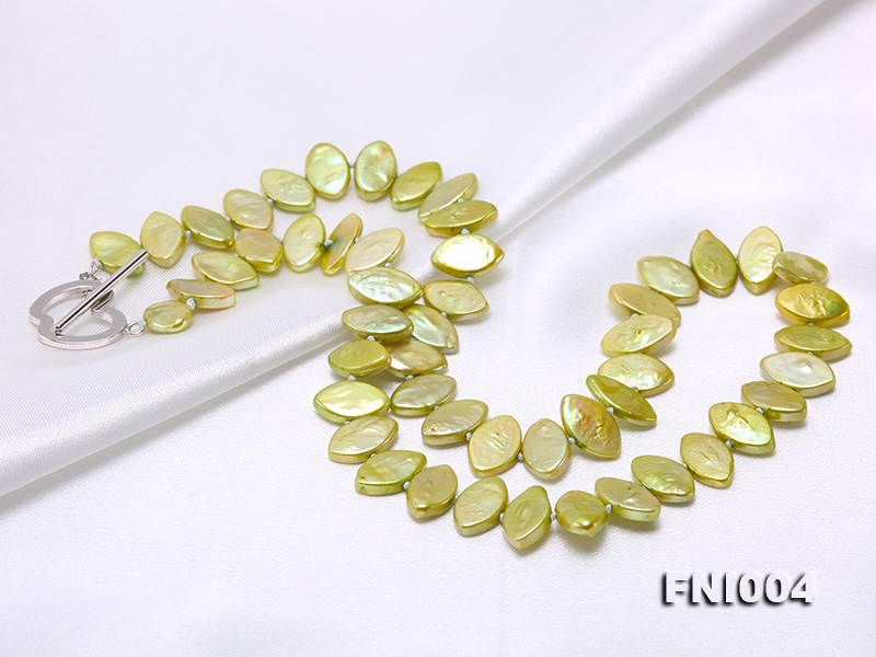 Classic 8x13mm Green Seed-shaped Freshwater Pearl Necklace big Image 6