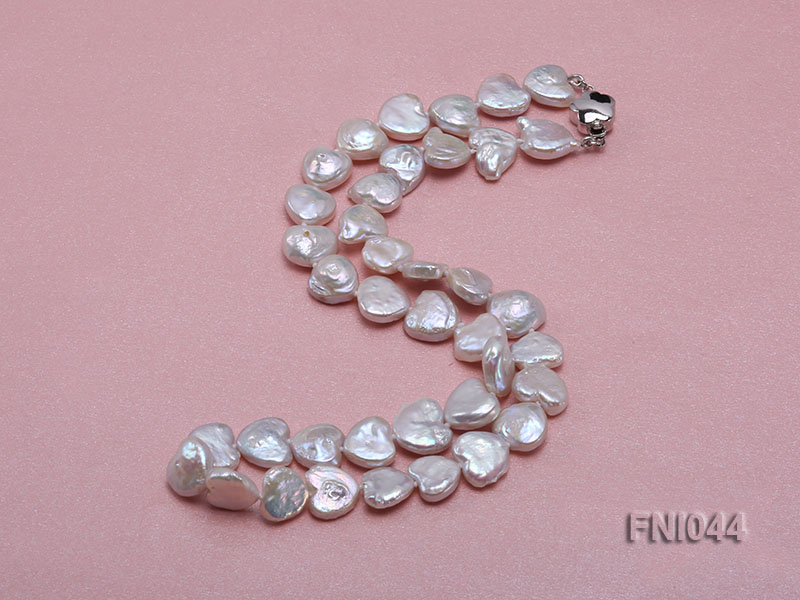 Classic 11mm White Heart-shaped Freshwater Pearl Necklace big Image 2