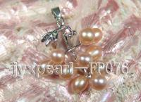 6-7mm Pink Oval Freshwater Pearl Pendant with a Gilded Pendant Bail FP076