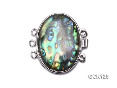 20x30mm Three-strand Gilded Clasp Inlaid with Elliptical Abalone Shell GCK125 Image 1