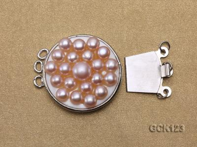 26x32mm Three-strand Gilded Clasp Inlaid with Lavender Pearls GCK123 Image 3