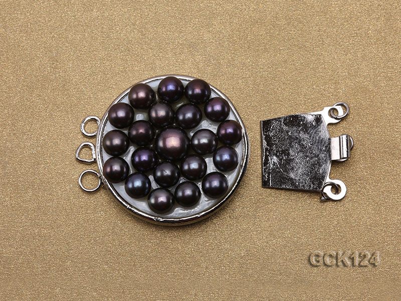 26x32mm Three-strand Gilded Clasp Inlaid with Black Pearls big Image 3