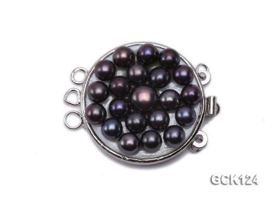 26x32mm Three-strand Gilded Clasp Inlaid with Black Pearls GCK124 Image 1