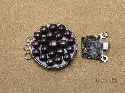 26x32mm Three-strand Gilded Clasp Inlaid with Black Pearls GCK124 Image 3
