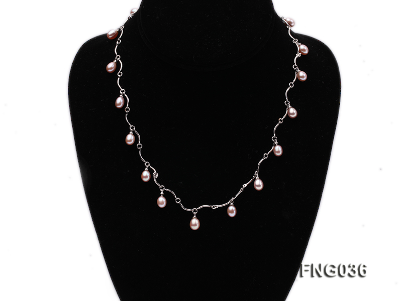 Gold-plated Metal Chain Necklace with Lavender Cultured Freshwater Pearl big Image 1