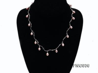Gold-plated Metal Chain Necklace with Lavender Cultured Freshwater Pearl FNG036 Image 1