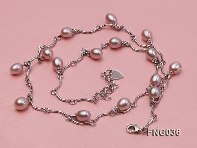 Gold-plated Metal Chain Necklace with Lavender Cultured Freshwater Pearl FNG036 Image 3