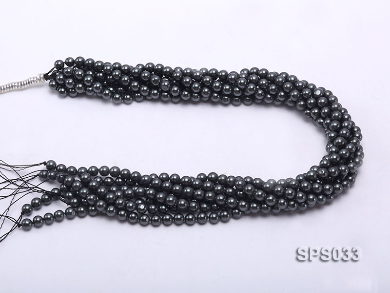 Wholesale 6mm Black Round Seashell Pearl String big Image 3