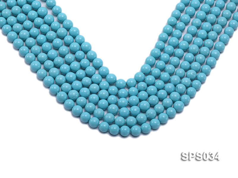 Wholesale 8mm Round Sky-blue Seashell Pearl String big Image 1