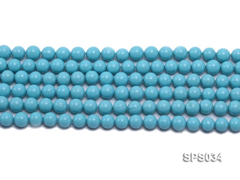 Wholesale 8mm Round Sky-blue Seashell Pearl String big Image 2