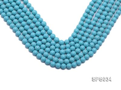 Wholesale 8mm Round Sky-blue Seashell Pearl String SPS034 Image 1