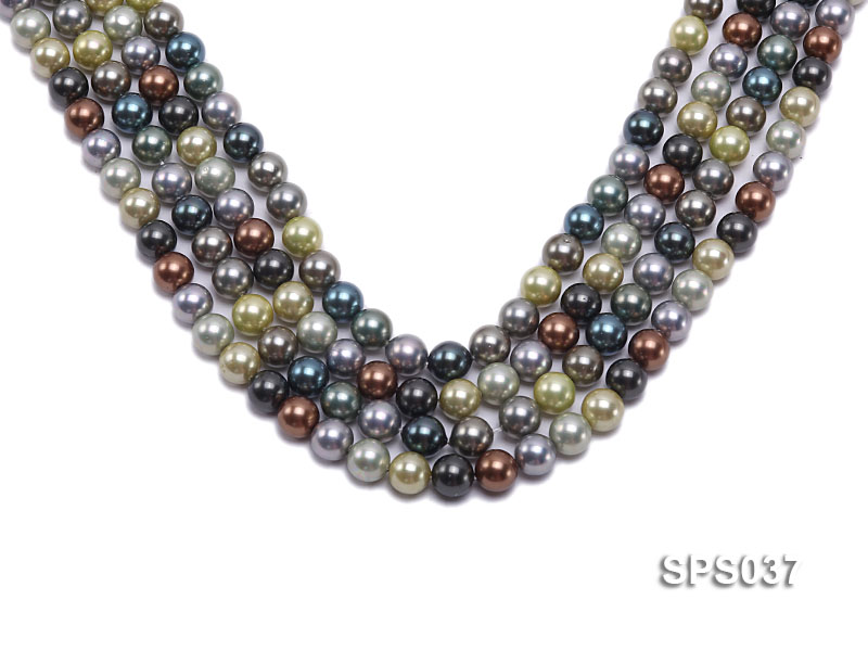 Wholesale 8mm Multi-color Round Seashell Pearl String big Image 1