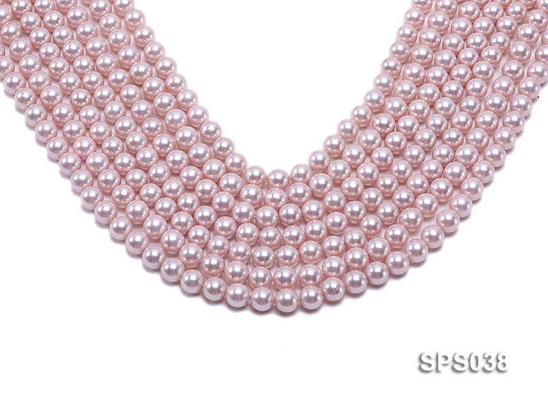 Wholesale 8mm Round Pink Seashell Pearl String big Image 1