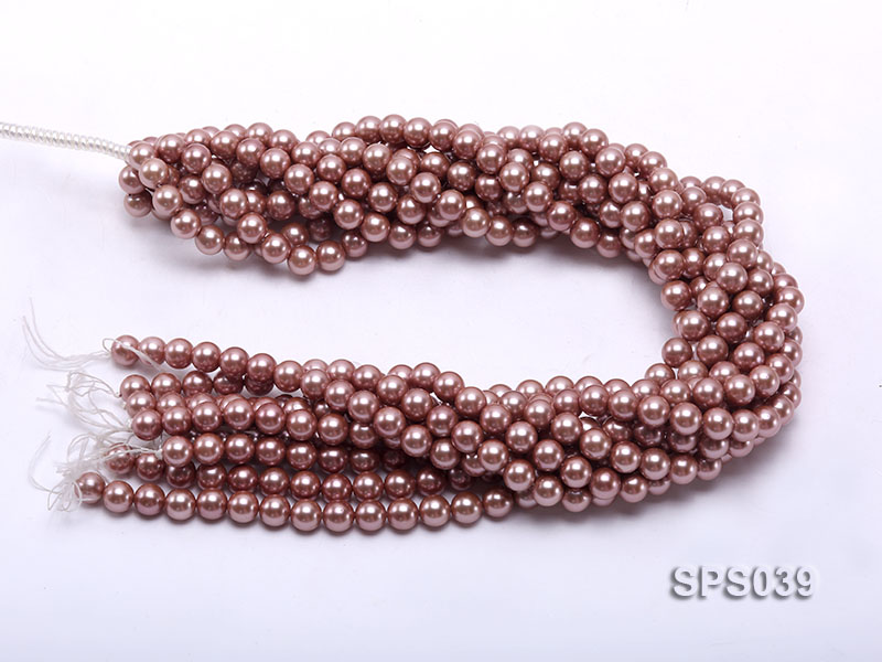 Wholesale 8mm Round Lavender Seashell Pearl String big Image 3