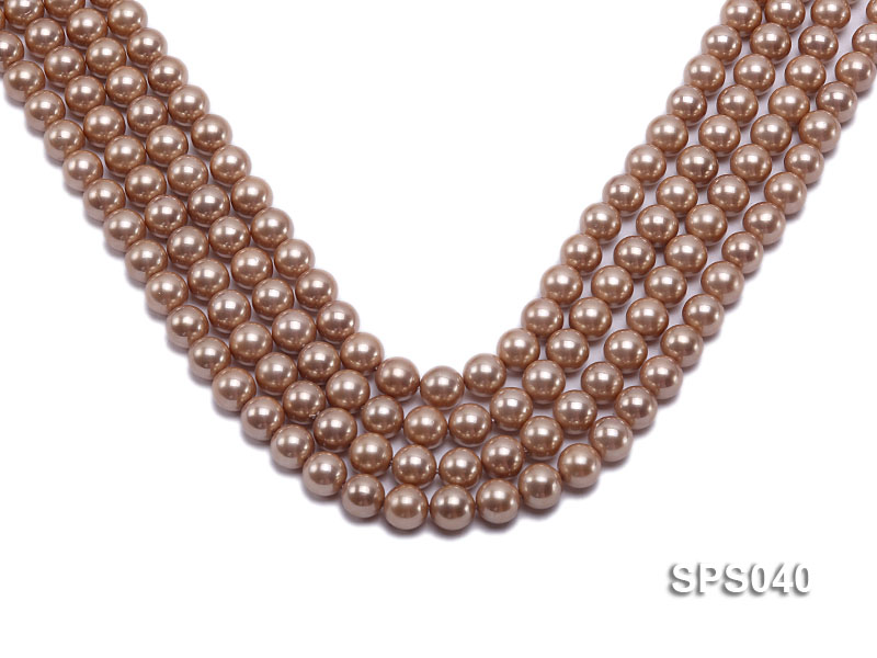 Wholesale 8mm Round Champagne Seashell Pearl String big Image 1